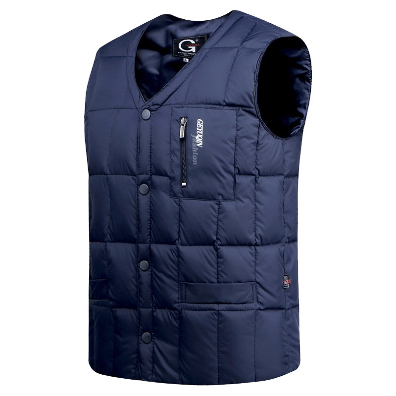 White Duck Down Vest Men Autumn Winter Warm Sleeveless Jacket V-neck Button Down Lightweight Waistcoat Fashion Casual Male Vest