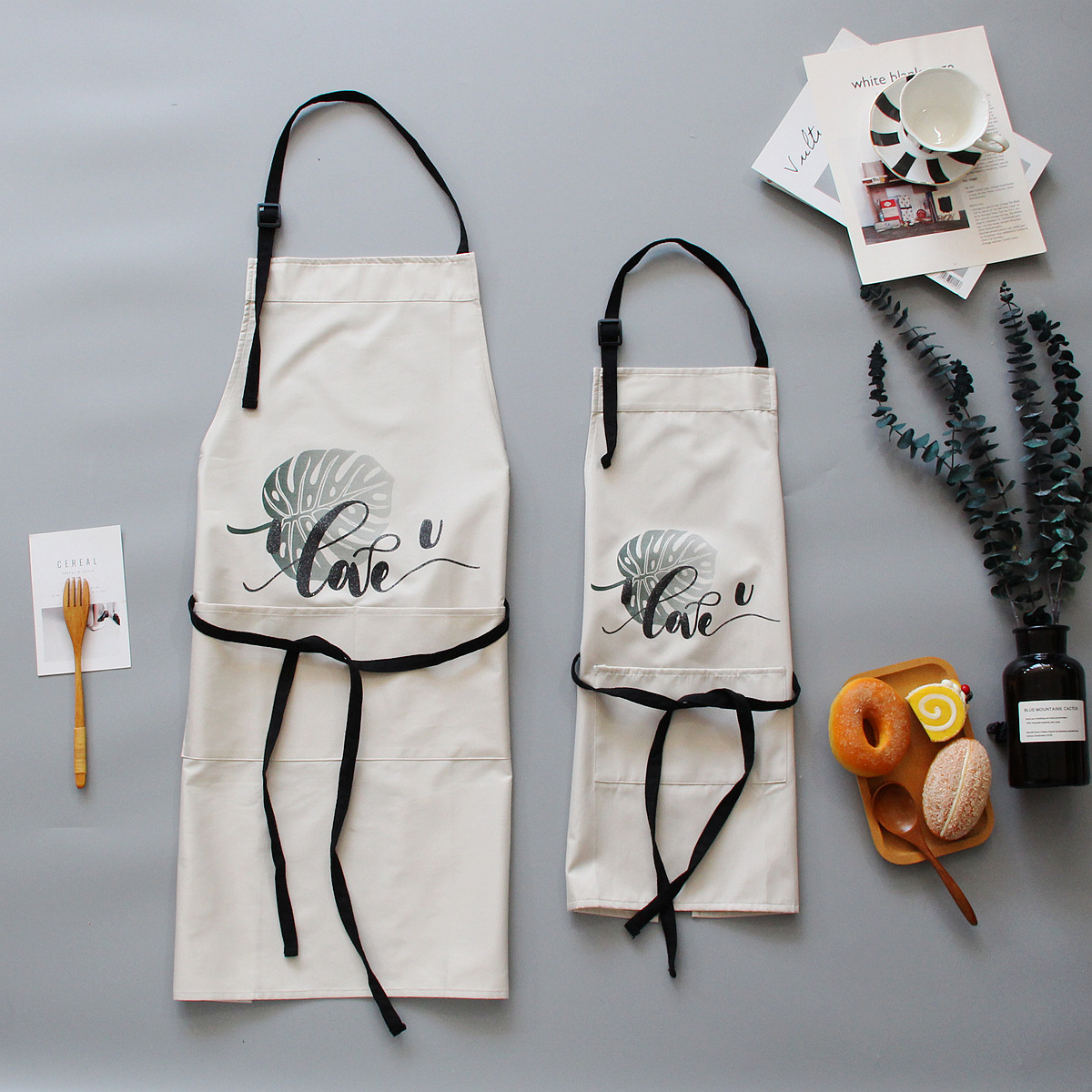 Image 4 - 1 Ps Chic Plants Pattern Unisex Cooking Dining Kitchen BBQ Restaurant Cleaning Waterproof Waitress Housework Aprons Dropshipping-in Aprons from Home & Garden