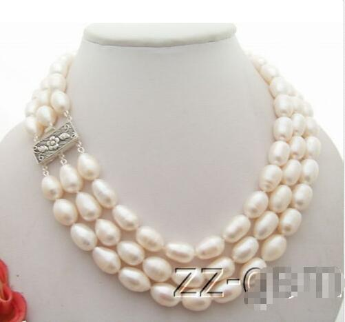 3Strds 14mm White Pearl Necklace>>>girls for women jewerly Free shipping