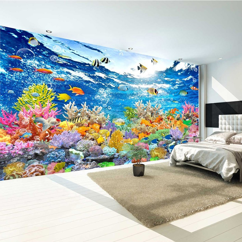HD Underwater World 3D Mural Wallpaper Living Room Kids Bedroom Backdrop Wall Painting Fresco Non-Woven Papel De Parede Sala 3 D custom 3d mural wallpaper european style painting stereoscopic relief jade living room tv backdrop bedroom photo wall paper 3d