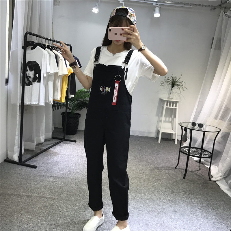 Womens Overalls Jumpsuit Embroidery Korean Casual Trendy Fashion New Fish Sweet Student-Style