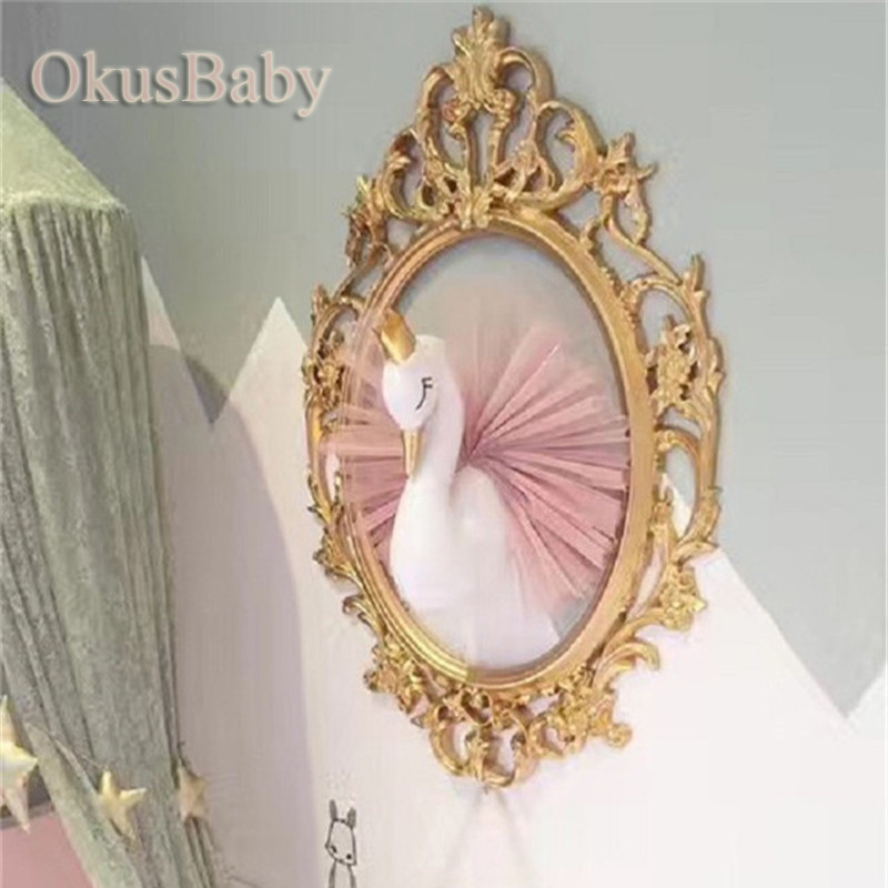 Plush Animal Wall Hanging Crown Swan Stuffed Toys Wall Mounted Girls Bedroom Decoration Kids Toys For Wedding Birthday