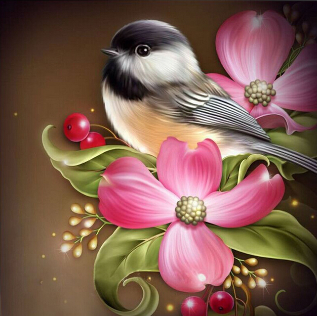 Diamond Embroidery Paintings Rhinestone Pasted 5D Diy Diamond painting Free Shipping printed classic Bird and Flower