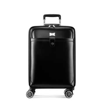 """TRAVEL TALE 16\""""20\"""" inch men cow Leather trolley suitcase retro cabin hand luggage bag on wheel"""