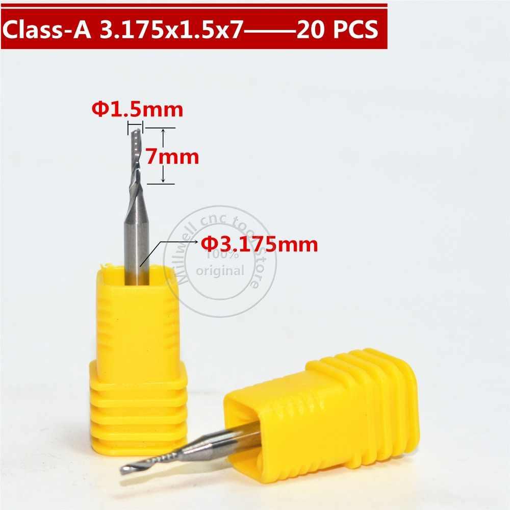 3.175 millimetri * 1.5 millimetri * 7mm, Freeshipping, CNC strumento di legno, carburo Fresa, la lavorazione del legno inserto router bit, 1 flute end mill, MDF, PVC, Acrilico