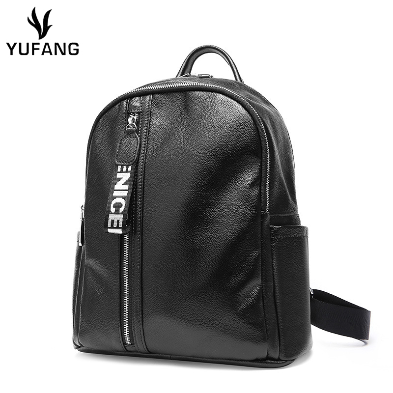 Yufang Women Backpack Daily Black Female School Bag Genuine Leather Casual Travel Backpack Trendy All-match Backpack Girls