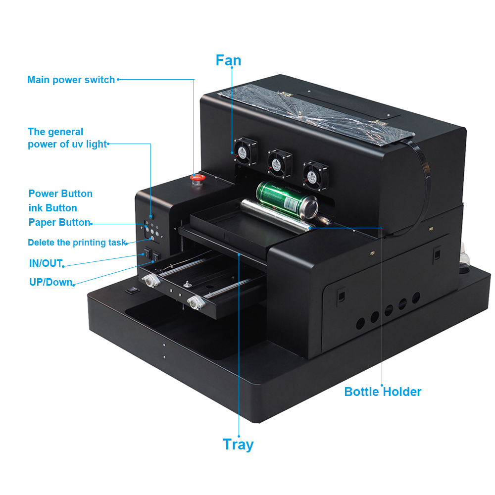 Colorsun Automatic A3 UV Led Printer (280*500mm) For phone case Cylinder wood glass printing machine with RIP 9.0 software