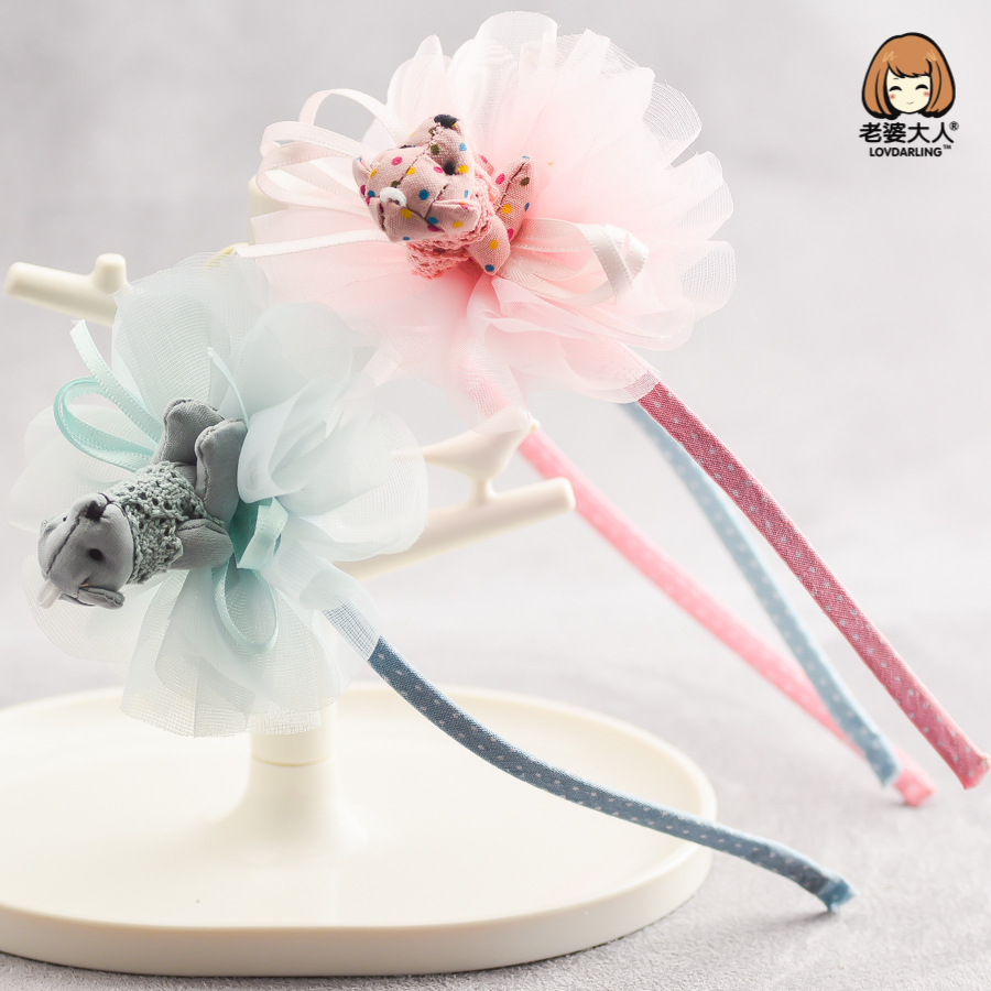 Korea Ribbon Flower Crown Bear Hair Band Cute Hair Accessories lovely Embroidery Headband for Girls Head Band Hair Bow Princess
