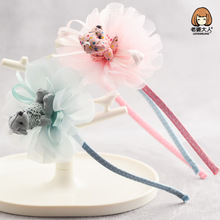 Korea Ribbon Flower Crown Bear Hair Band Cute Accessories lovely Embroidery Headband for Girls Head Bow Princess