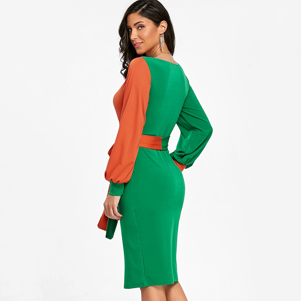 63172c9d915 2018 Women Spring Elegant Dress Color Block Long Lantern Sleeve V Neck Mid  Calf Dress Belted Surplice Bodycon Dress-in Dresses from Women s Clothing  ...