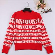 Kpop Bangtan Boys Red LOVED Sweater SUGA Same O Neck Autumn Winter Unisex Long Sleeve Knitted Sweaters Christmas Outerwears
