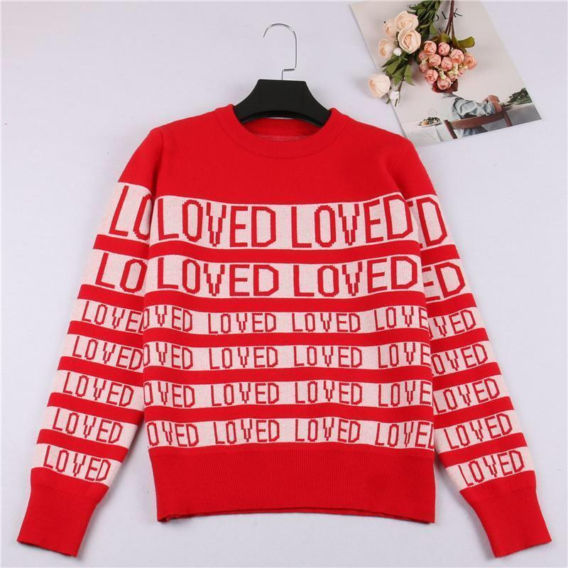 Kpop Red LOVED Sweater SUGA Same O Neck Autumn Winter Unisex Long Sleeve Knitted Sweaters Christmas Outerwears