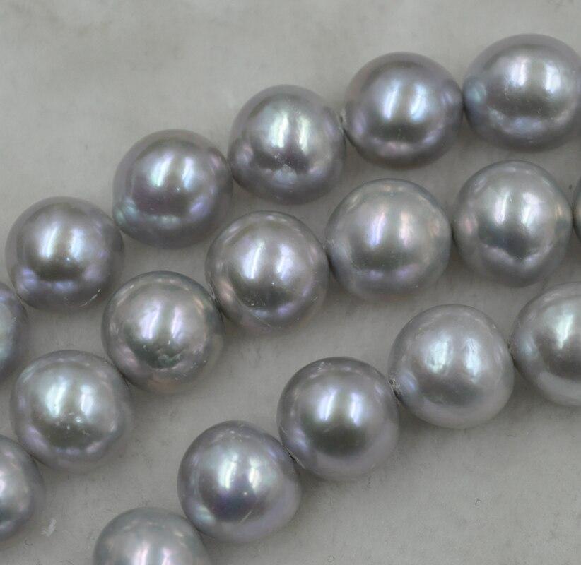 Huge 12-14mm round gray kasumi freshwater pearl strand 40cm