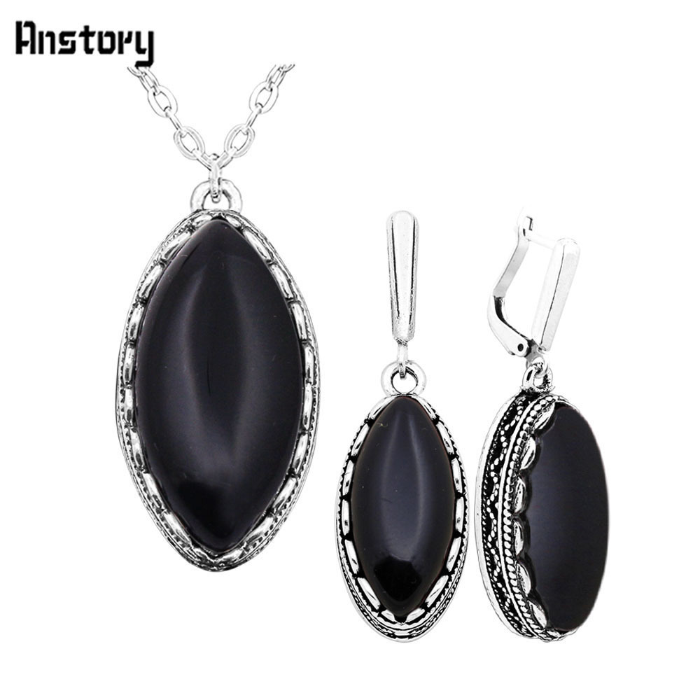 ᗕeye Shape Stone Necklace Earrings Jewelry Set For Women Stainless