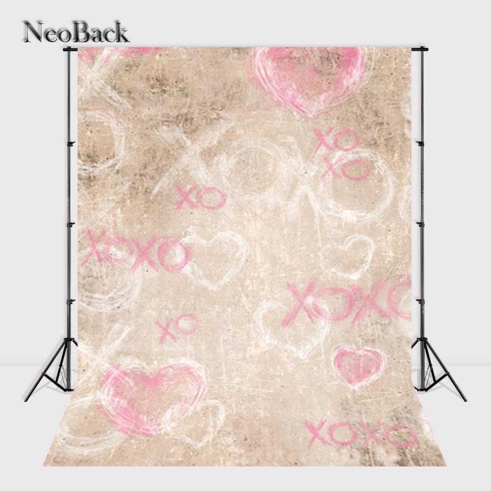NeoBack 5x7ft Thin Vinyl new born baby photo studio backgrounds Printed pink XO love photo backdrops black Friday sales B0958