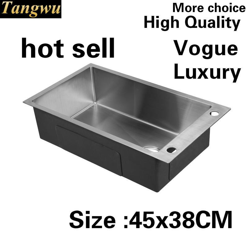 Free shipping Apartment high quality kitchen manual sink single trough wash vegetables  304 stainless steel hot sell 450x380 MMFree shipping Apartment high quality kitchen manual sink single trough wash vegetables  304 stainless steel hot sell 450x380 MM