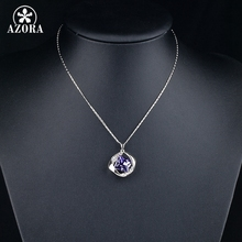 AZORA White Gold Color Stellux Austrian Crystals Pendant Necklace for Valentine's Day