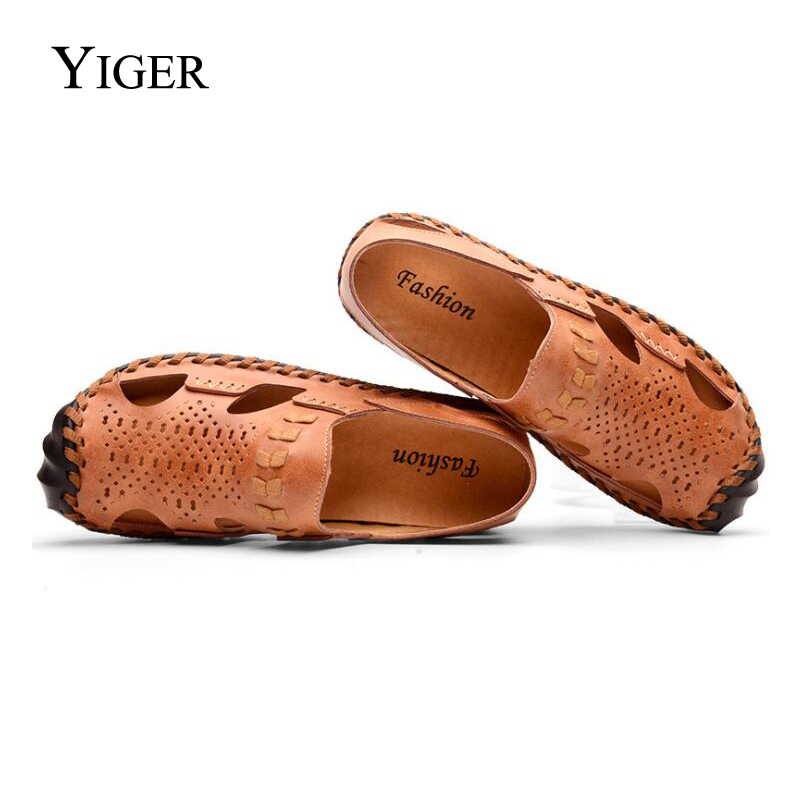 YIGER 2018 New Man Sandals Genuine Leather Leisure Driving Shoes Men Beach Shoes Sewing Slip-on Ankle-Wrap Casual Shoes 0102