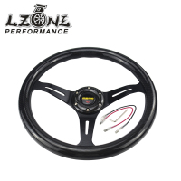 LZONE RACING NEW 14 Inch 350mm Carbon Fiber MOMO Style Steering Wheel Automobile Race Modified JR