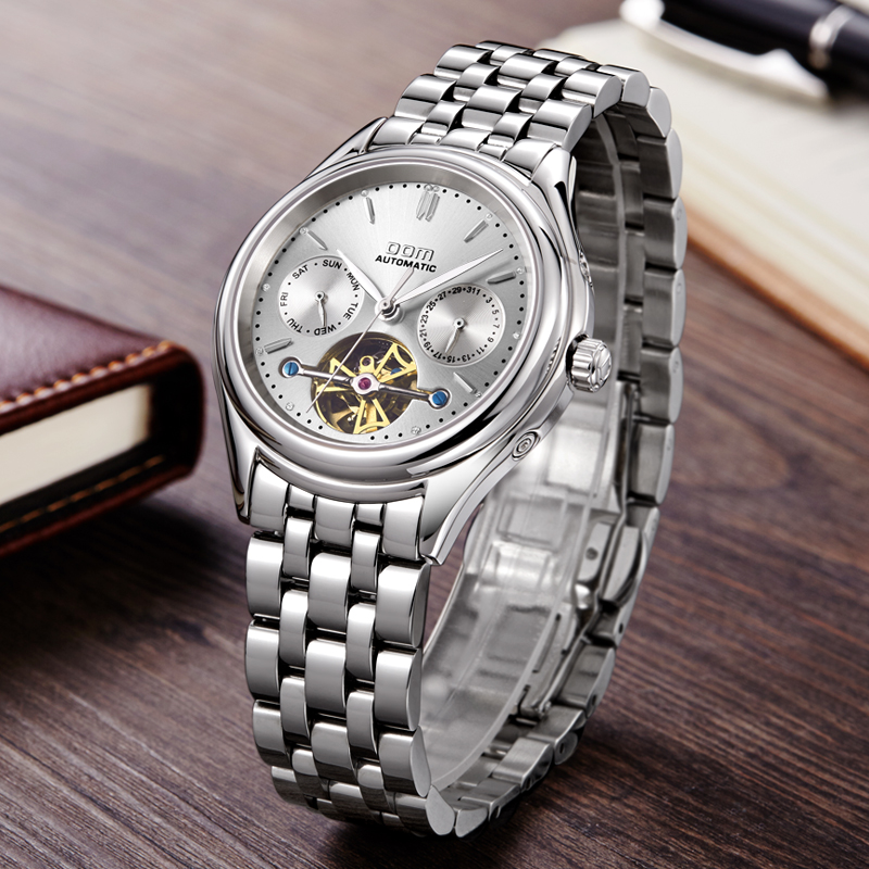 Image 2 - DOM Mens Watches Top Brand Luxury Mechanical Watch Men Stainless Steel Waterproof Sport Wrist Watch Relogio M 815D 7M-in Mechanical Watches from Watches
