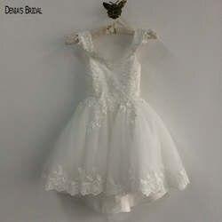 Реальное изображение с открытыми плечами Милая аппликация кружево Sheer назад пышные платья для маленьких девочек в цветочек