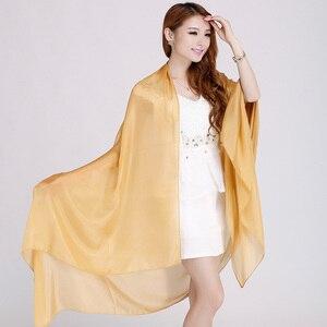 Image 4 - Bayanlar marka gri dut ipek eşarp şal 180*110cm büyük boy tasarım kadın eşarp sarar yaz güneşlik şal haki siyah