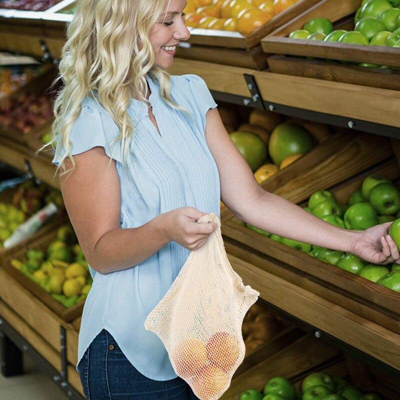 Bolsas de Malla 3 tamaños y de ALGODÓN ecológica sostenible re-utilizable reutilizable de varios tamaños y color beige 10