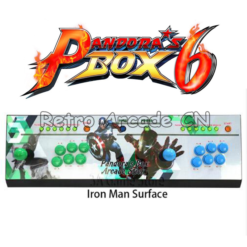 Newest Home Game 2 players console with Pandora Box 6 PCB 1300 in 1 with 3D Tekken can add 3000 arcade games CGA/VGA/HDMI output
