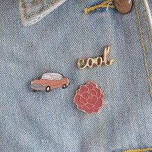 Metal Enamel Brooch Pins Button Vintage Car Cool Rose Flower Brooches for Women Men Denim Jacket Collar Badge Jewelry