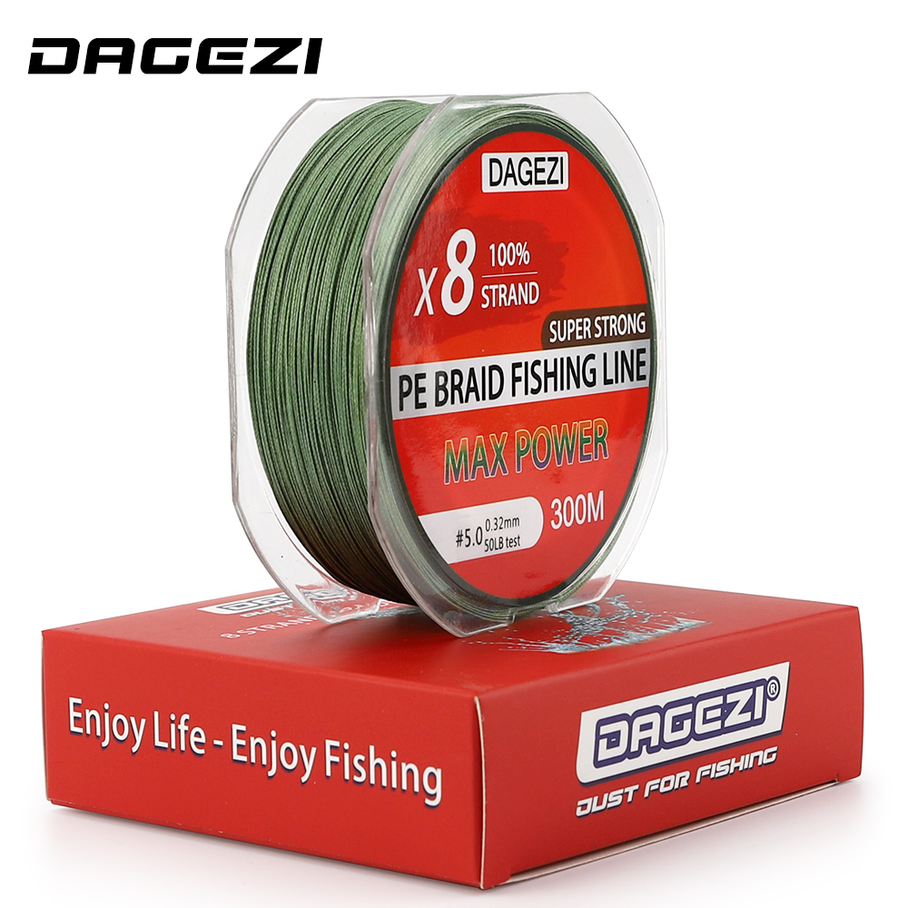 DAGEZI 100% PE Braided Fishing Line smoother line 8 strand 300m Super Strong brand fishing lines 10 20LB 30LB 40LB 50LB 80LB|Fishing Lines| |  - title=