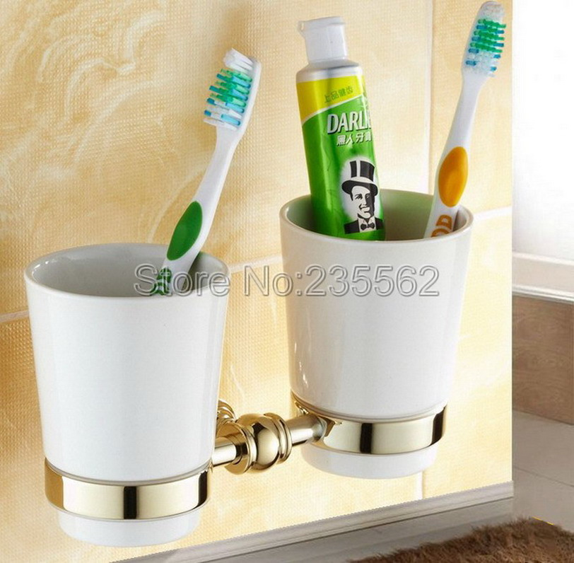 Wall Mounted Bathroom Double Cup Holders Golden Brass Finish Toothbrush Holders with Ceramic Cups lba138