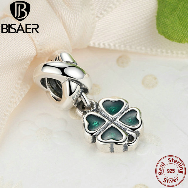 Real 925-Sterling -Silver Green Four-Leaf Clover Dangle Pendant Charm Fit Pandora Charm Bracelet DIY Fine Jewelry Making