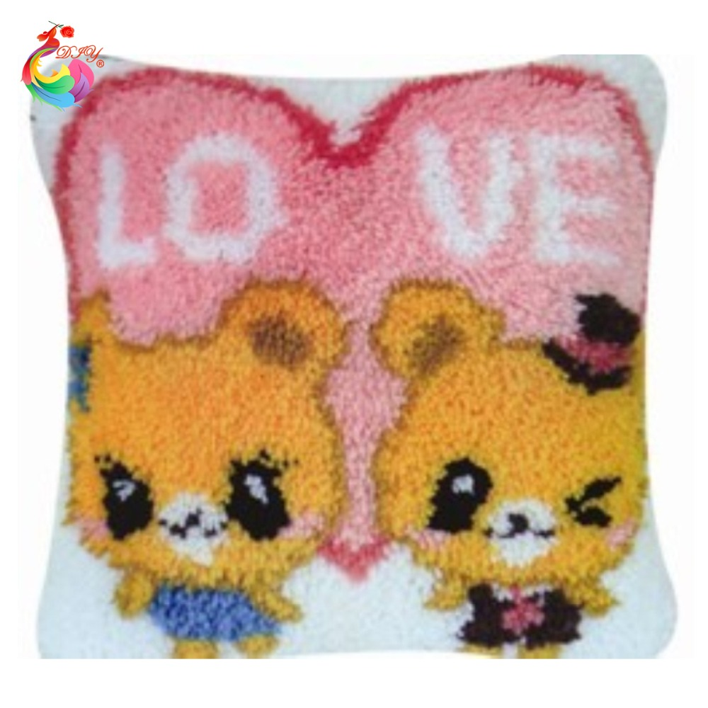 Baby Lion Latch Hook Kits DIY Throw Pillow Cover Rug Pattern Printed Pillowcase Embroidery Needlework Craft Home Decoration Gifts