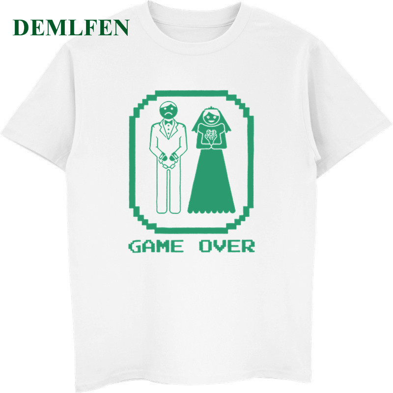 Funny Wedding Groom Gift Game Over Bride And Groom T-Shirt Unisex Cotton O-Neck Short Sleeve T-shirt Men's Casual Tees Tops