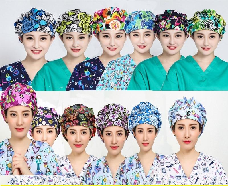 Medical Staff Hat Nurse Doctor Breathable Hygiene Operating Room Work Hat Adjustable Cotton Quick-drying Printed Super Soft Cap