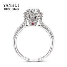 100% Auténtico lujo Incrustaciones Anillo Sólido Anillo de Rubíes Natural regalo de La Joyería 7.5mm CZ Diamante Anillos de Compromiso de Boda Para Las Mujeres R046