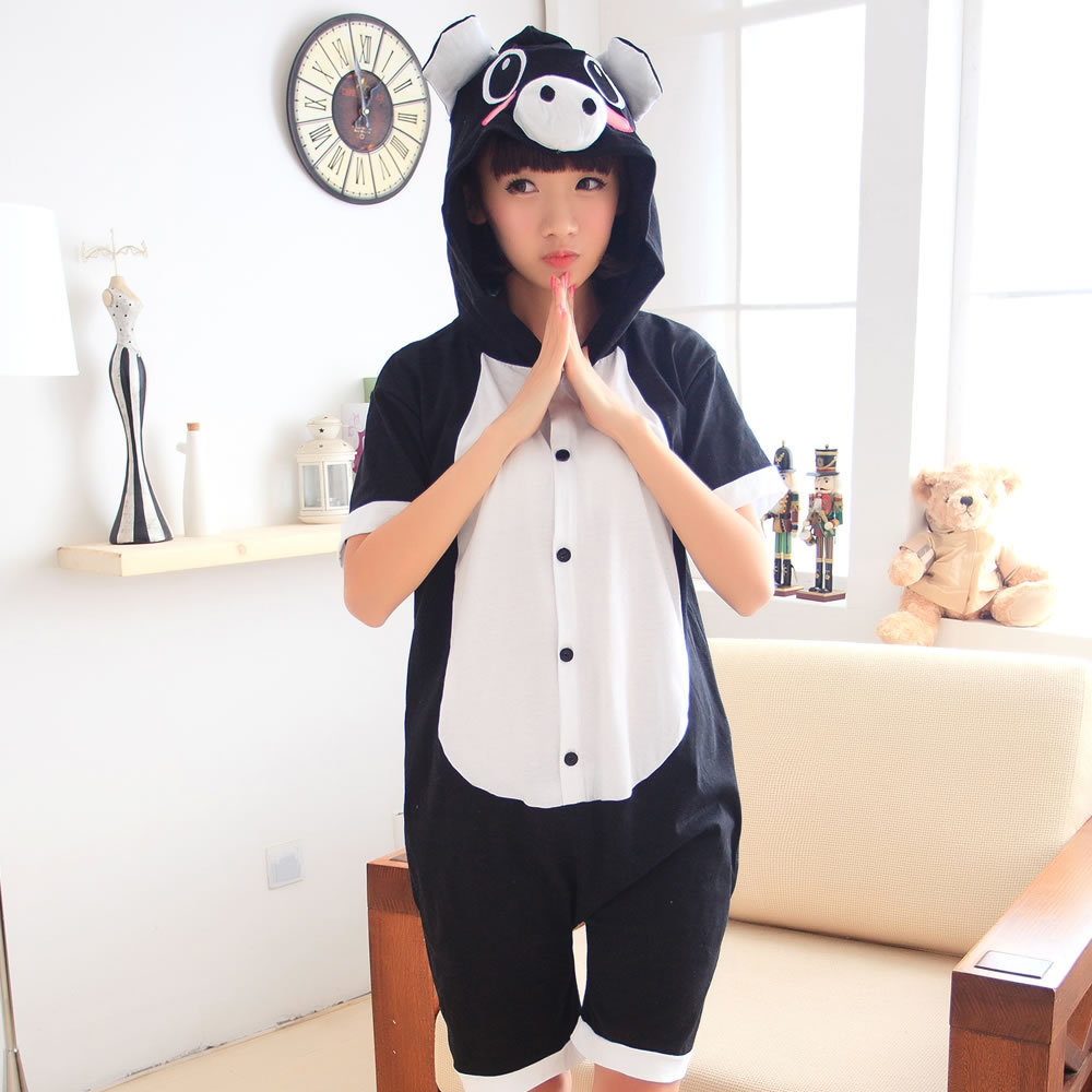 Black pig Cosplay Summer Cartoon Animal Siamese Pajamas Lovely couple Stitch pajamas  Short-sleeved cotton couple Anime pajamas