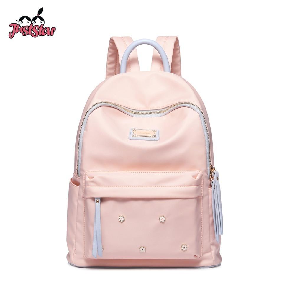 Just Star Women's Nylon Backpack Ladies Fashion Flower Rivets Double Shoulder Bags Female Tassel Student School Travel Rucksack