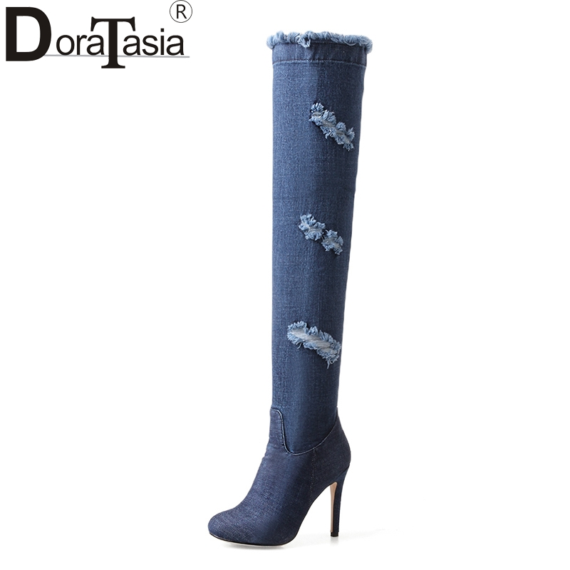 DoraTasia Top Quality Brand Design Big Sizes 33-43 2018 Sexy Thin High Heels over-the-knee Boot Women Shoes Woman Party Boots