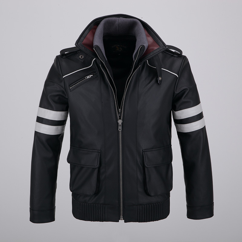 Cool Mens Detachable Double layer Collar Prototype Alex Mercer Short Jackets Outwear with Embroidery Pattern High Quality-in Faux Leather Coats from Men's Clothing    1