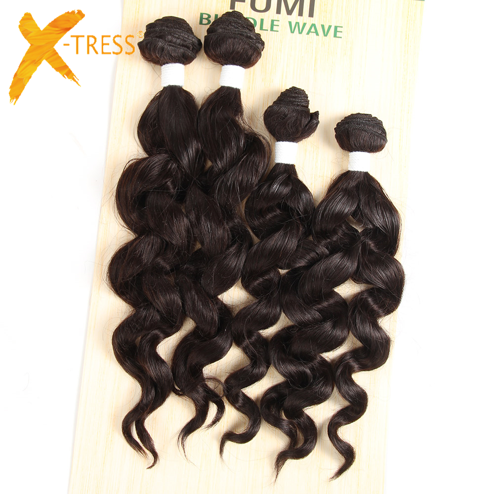 X-TRESS Loose Wave Hair Bundles 4Pcs/Pack 16 16 18 18inches Natural Black High Temperatu ...