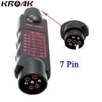 Vehicle 7 Pin Car Trailer Plug Socket 7 Pole Wiring Connector Tester 12V N Type Signal
