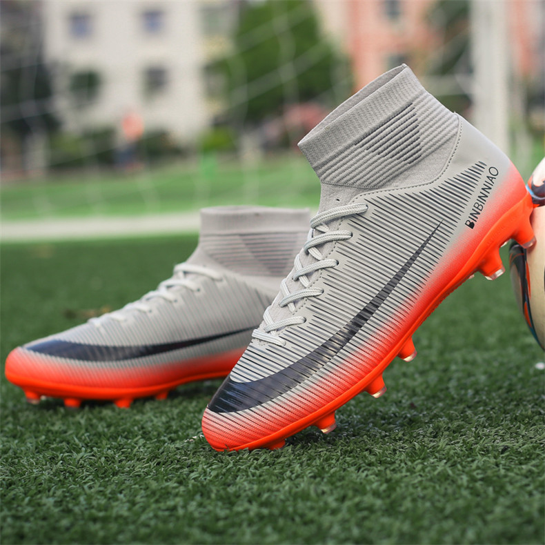 ZHENZU Outdoor Men Boys Soccer Shoes Football Boots High Ankle Kids Cleats Training Sport Sneakers Size 35-45 Dropshipping 11