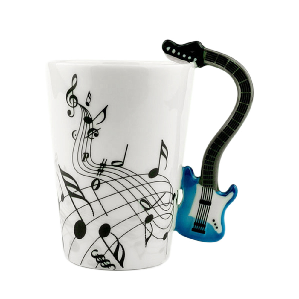 Note Style Coffee Milk Cup Christmas Gift Home Office Drinkware 2018 Home Use Novelty Art Ceramic Mug Cup Musical Instrument