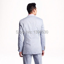 2016 HOT SELLING 100% wool light blue two buttons with  notch lapel summer suit for man