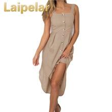 Laipelar Buttons Sexy Beach Boho Sundress Female Summer Spaghetti Strap Backless A-line Dresses Women Split Midi Dress Plus Size