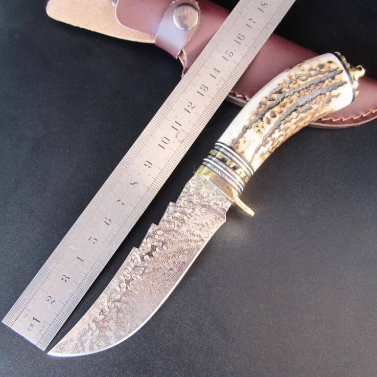 High hardness VG10 Damascus knife self-defense wild jungle to straight knife not folding knife collection of outdoor survival elecall butterfly knife butterfly trainer balisong training tool folding knife self defense knife white not sharpened