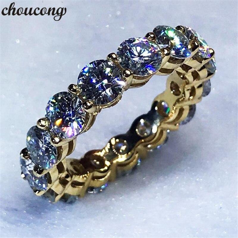 Choucong 3 couleurs infinity anneau Jaune Or Rempli 925 argent Engagement Wedding Band Anneaux Pour Les Femmes 4 MM 5A zircon bijoux