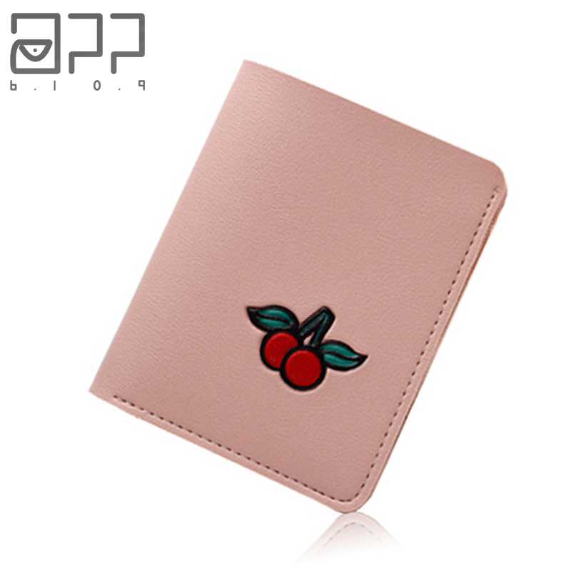 APP BLOG Brand Short Sweet Cute Candy Cherry Woman's Leather Wallet Fashion Personality Girl Teenager Small Mini Purse Card Bag