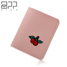 APP BLOG Brand Short Sweet Cute Candy Cherry Woman's Leather Wallet Fashion Personality Girl Teenager Small Mini Purse Card Bag(China)